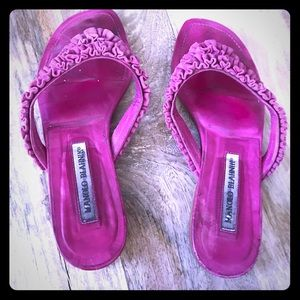 Manolo Blahnik ruffle leather & suede pink slides